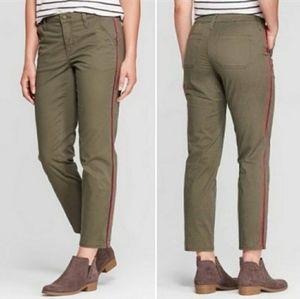 Olive Pants Side Stripe